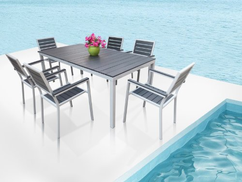 Outdoor Aluminum Patio Furniture New Resin 7 Pc Dining Table Set With 6 Arm C